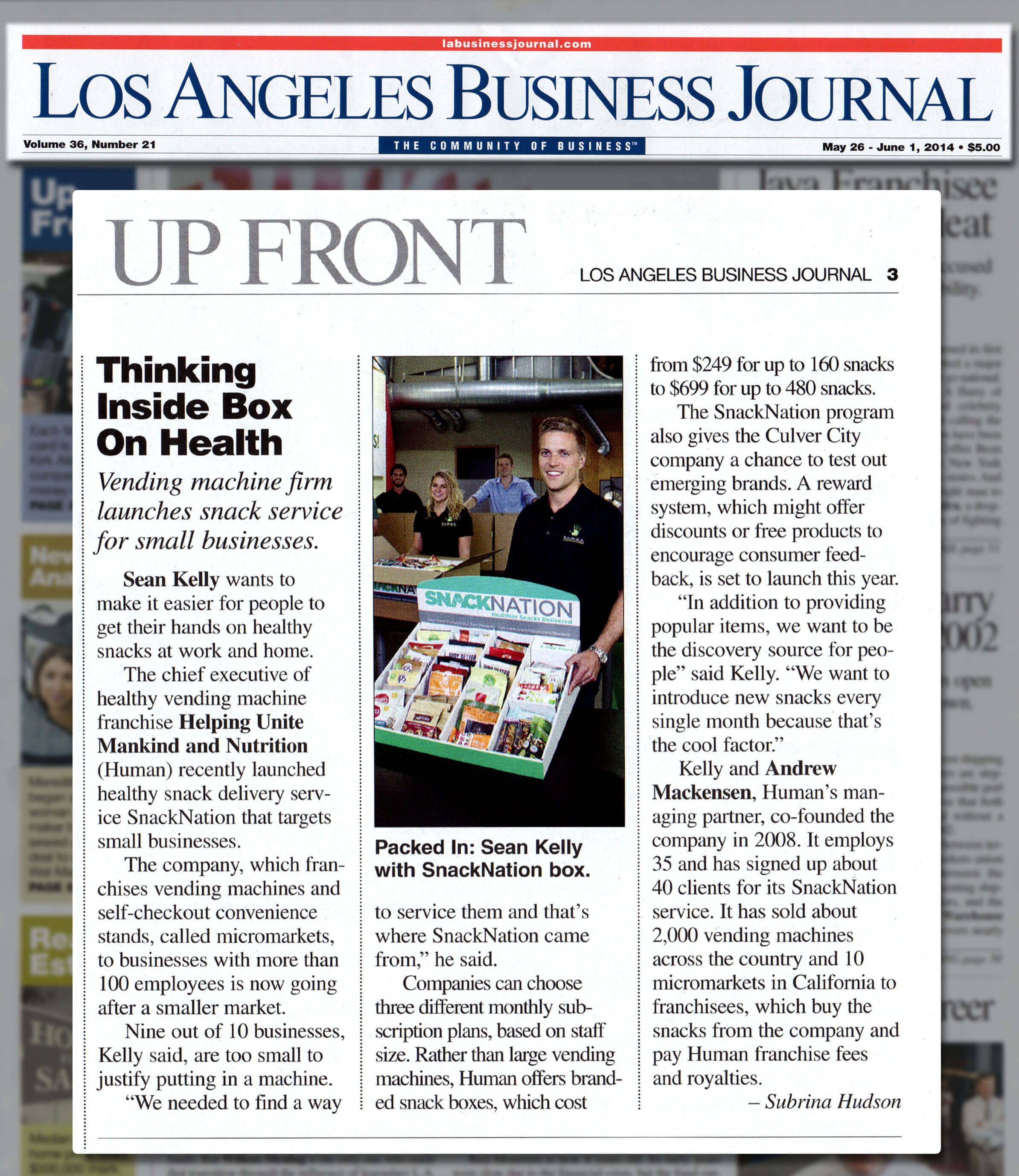 SnackNation Snack Delivery Service Featured in the Los Angeles Business Journal