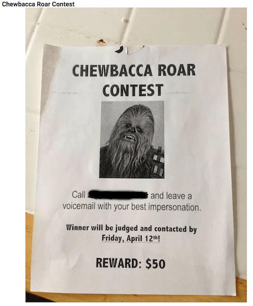 chewbacca roar contest flyer