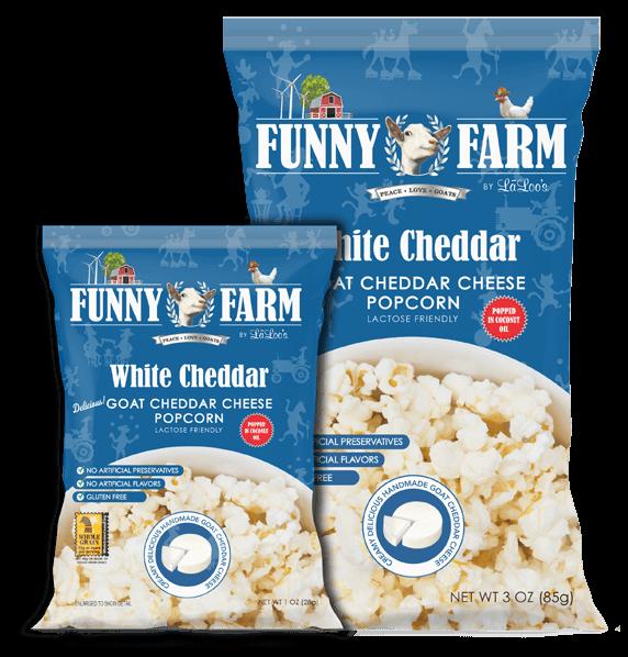 Cruelty Free: Funny Farm Goat Cheddar Cheese Popcorn