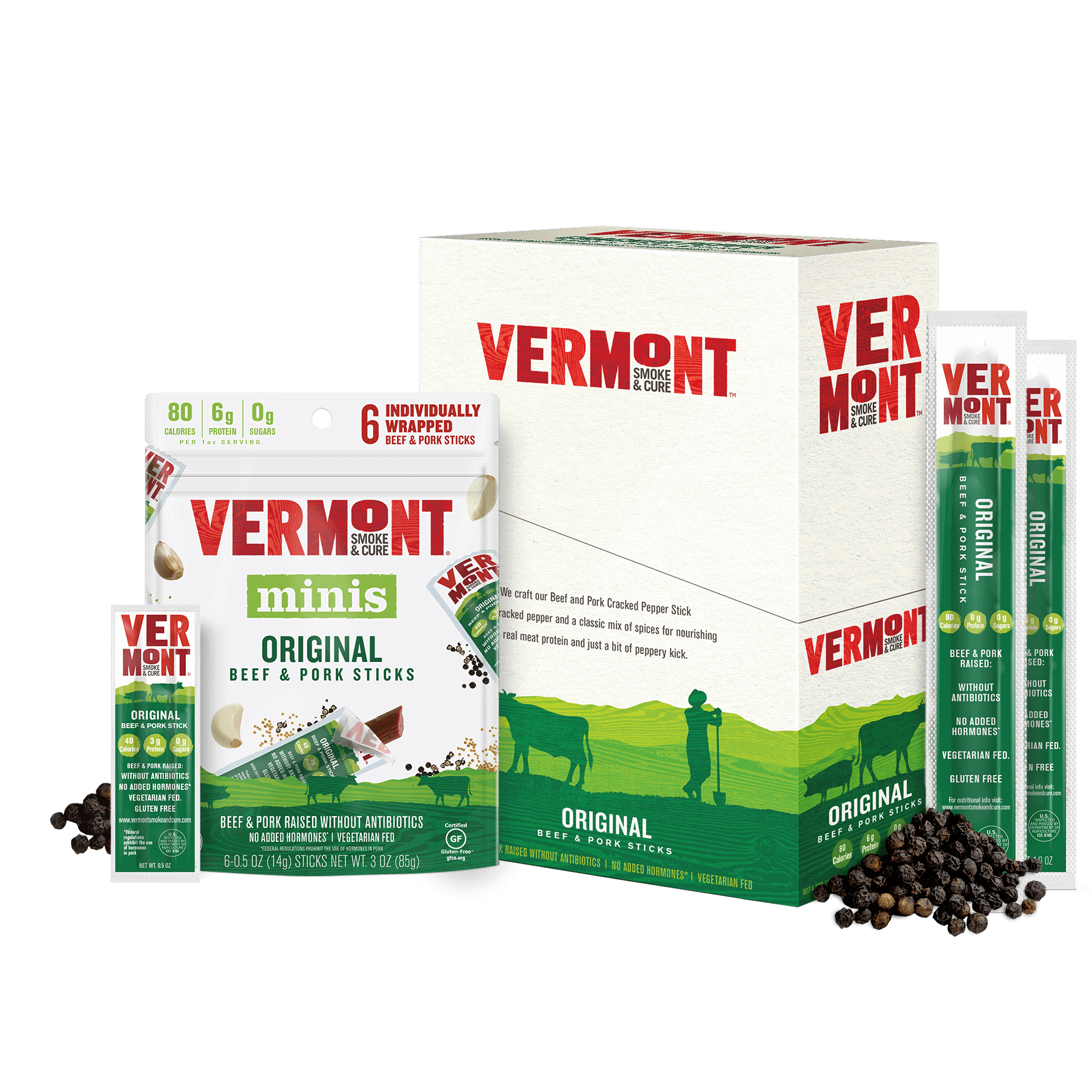 Vermont Smoke & Cure Original Beef & Pork Sticks