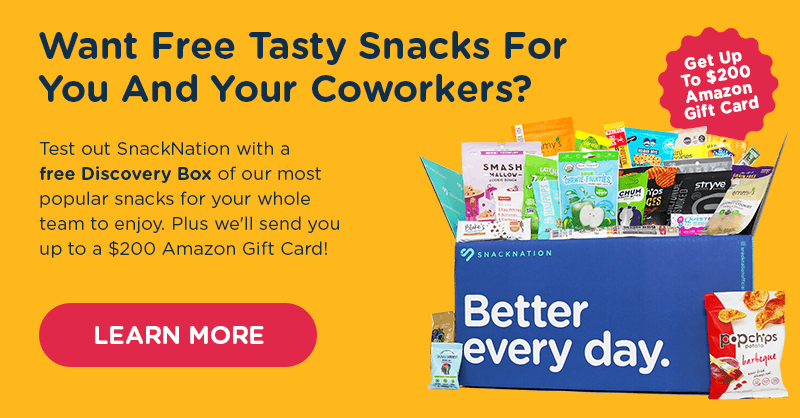 Special Offer from SnackNation. Claim your free Discovery Box and up to a $200 Amazon gift card